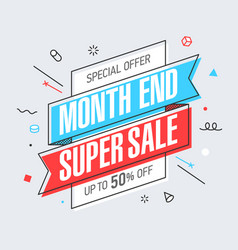 Month end super sale banner template in flat vector