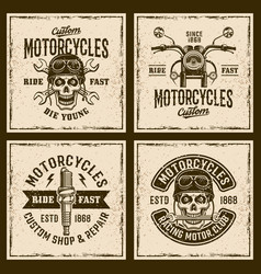 motorcycles four colored vintage grunged emblems vector image