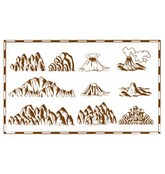 Mountains and waterfall on map vector