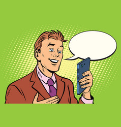 Online communication is a businessman and vector