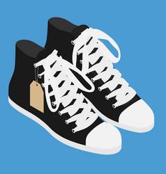 Pair vintage black converse sneakers shoes vector