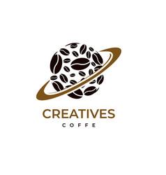 planet coffee logo design vector image