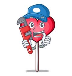 Plumber heart lollipop mascot cartoon vector