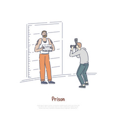 prisoner posing for police mugshot policeman vector image