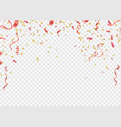 Red and gold confetti serpentine or ribbons vector