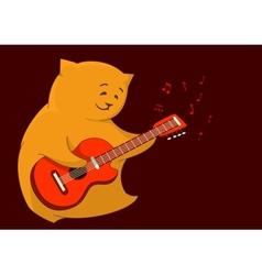 Red cat guitarist vector