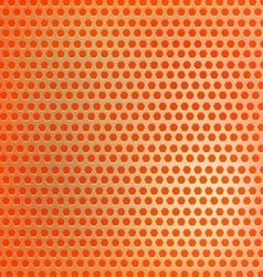 Retro orange hexagon dots background vector image