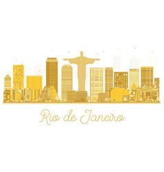 Rio de janeiro city skyline golden silhouette vector