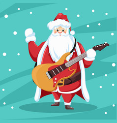 Rocker santa claus design with guitar vector