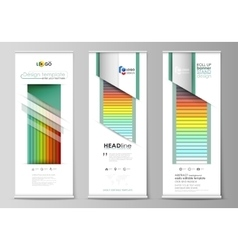 Roll up banner stands flat style templates vector
