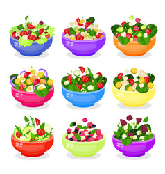 Salad in bowl icon set isolated from vector