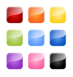 set colored glossy blank button vector image