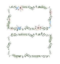 set floral frame frame border with copy vector image