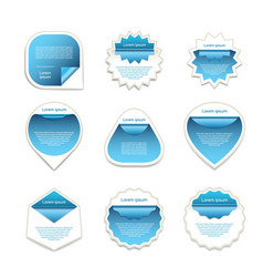 Set of blue and white stickers vector