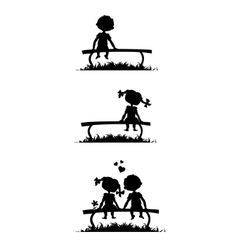 Silhouettes of boy and girl sitting on a bench vector image