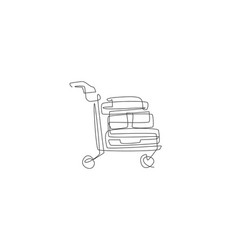 single continuous line drawing luggage bag vector image