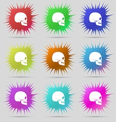 Skull icon sign A set of nine original needle vector