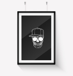 skull with moustaches and beard vector image