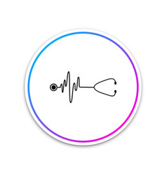 stethoscope with a heart beat icon isolated vector image