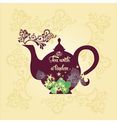 Teapot with linden vector image
