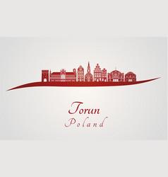 Torun skyline in red vector