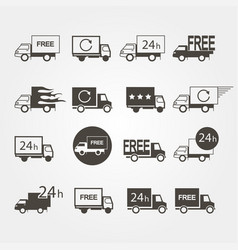 transport service logos set icons on a gray vector image