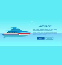 two deck motor boat advertisement poster vector image