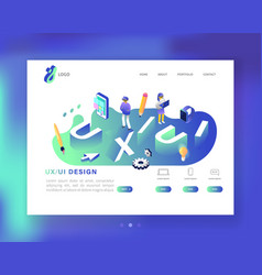 Ux and ui design landing page template mobile vector