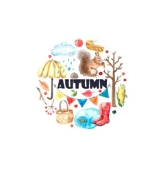 Watercolor autumn set vector image