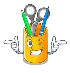 Wink school organizer desktop composition on vector