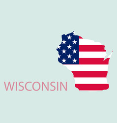 wisconsin state of america with map flag print on vector image