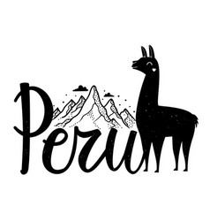 With calligraphy word peru mountains clouds vector