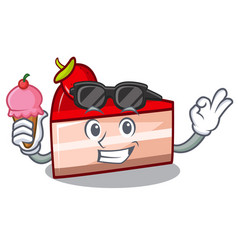 with ice cream strawberry cake character cartoon vector image