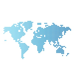 World map blue round dots vector