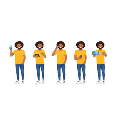 Young african man with phone vector