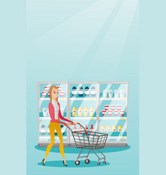 young caucasian woman with supermarket trolley vector image