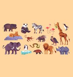 zoo animals set vector image