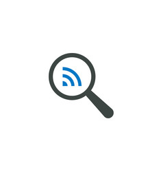 magnifying glass icon rss icon vector image