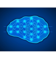 Thinking concept Brains with neural net inside it vector image