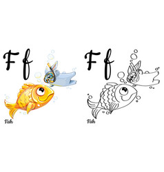 fish alphabet letter f coloring page vector image vector image