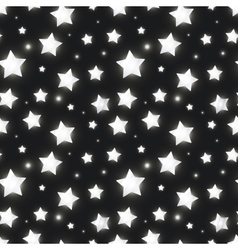 Glossy silver stars in the dark seamless pattern vector image vector image