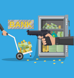 hand of thief holding pistol in bank vector image