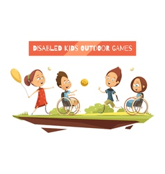 Outdoor Games Of Disabled Kids vector image vector image