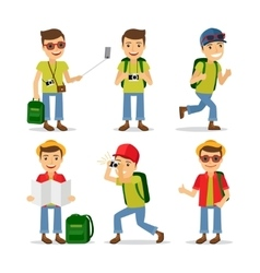 Tourist travel character vector image vector image