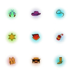 Wild West of USA icons set pop-art style vector image vector image