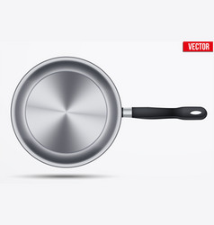 Classic stainless steel fry pan vector