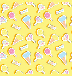 seamless pattern with sweets stickers vector image vector image