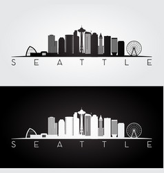seattle usa skyline and landmarks silhouette vector image vector image