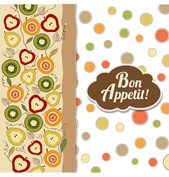 bon appetite card with fruits vector image
