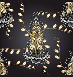 decorative symmetry arabesque gold on gray black vector image